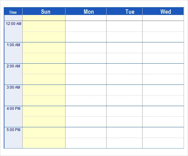 Microsoft Excel Weekly Schedule Template