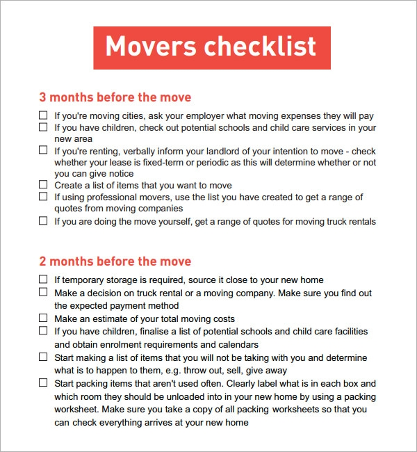 Moving Checklist 9 Download Free Documents in PDF – Sample Moving Checklist