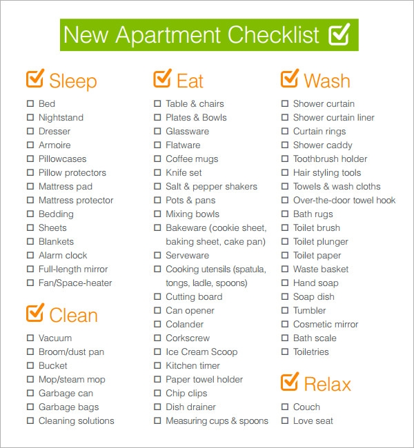sample new apartment checklist 4 documents in pdf