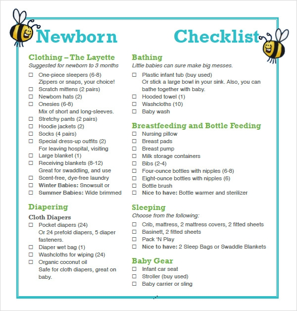 Astounding image with newborn baby checklist printable
