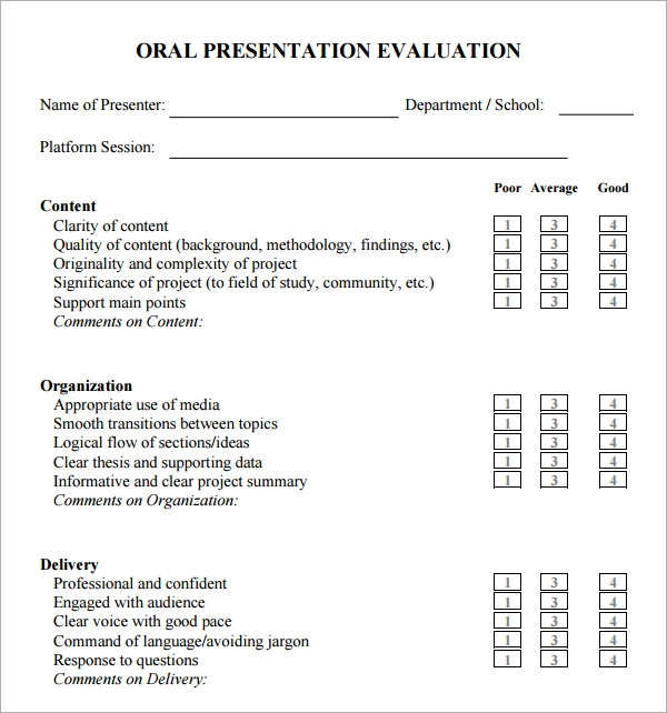 Presentation Feedback Form Teacher Evaluator Teacher Evaluation