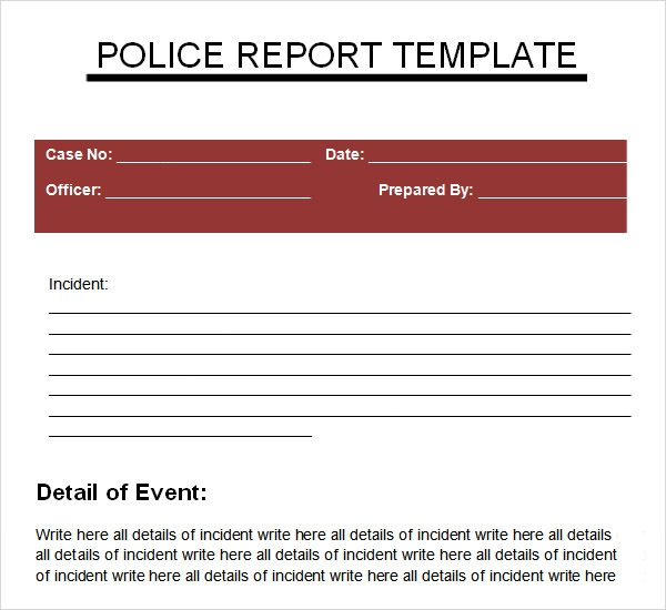 Sample Police Report 5 Documents in PDF – Mock Police Report