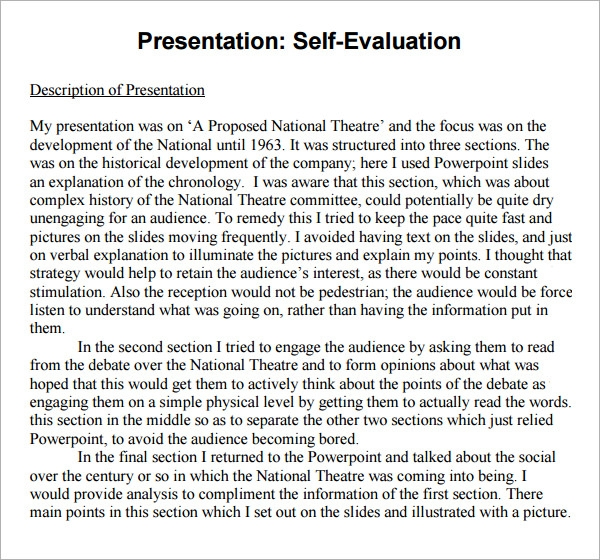 presentation self evaluation
