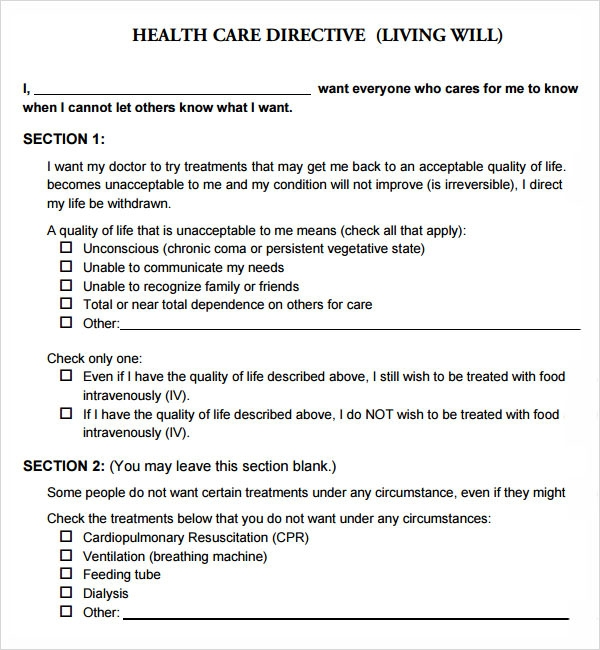 Living wills samples for Template for wills
