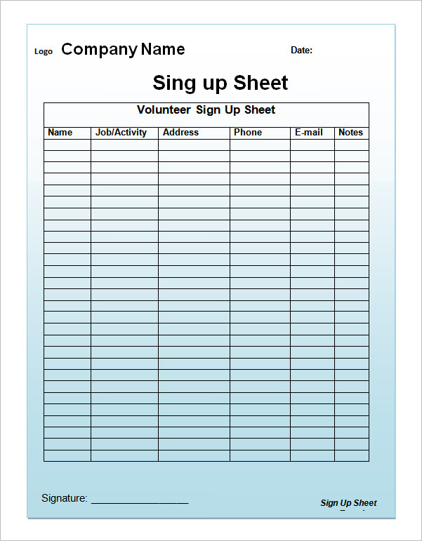 Critical image throughout printable sign up sheets