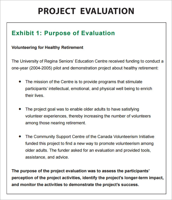 Project evaluation example