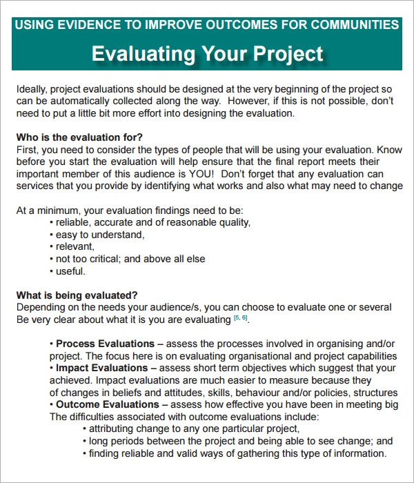 Project Evaluation - 9+ Download Free Documents in PDF