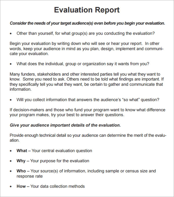 Sample Evaluation Report Template   Free Documents Download In Pdf