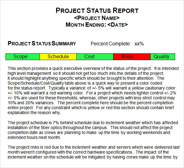 sample project status report - Acur.lunamedia.co