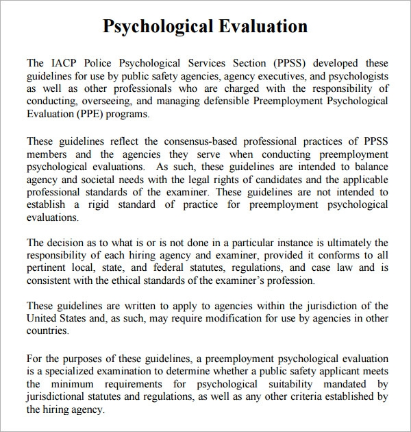 Psychological Evaluation Template   Free Download Free
