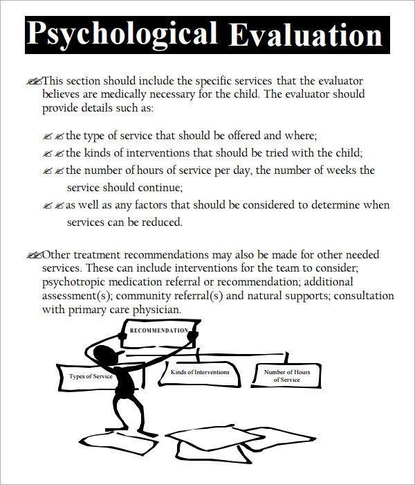 Psychological Evaluation Template   Free Download Free Documents