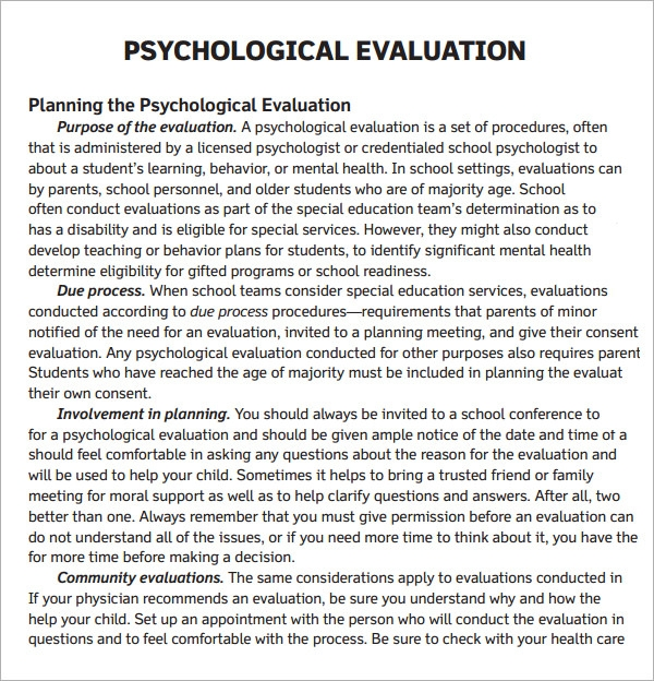 Psychological Evaluation Template 7 Free Download Free – Sample Psychosocial Assessment