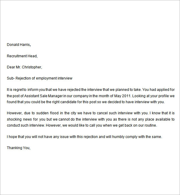 rejection letter for interviewed applicants