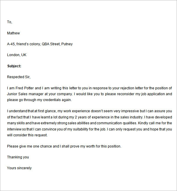 rejection letter response