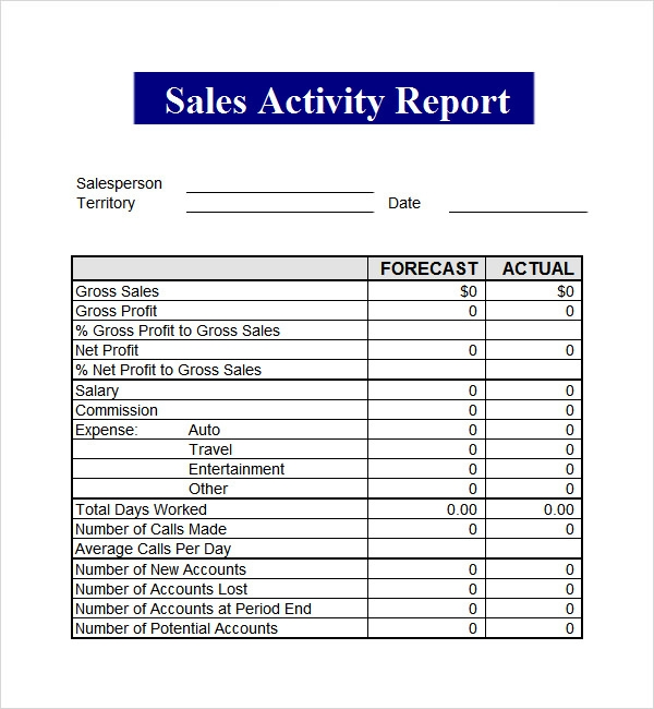 ... Activity Report Template By The Gallery For Gt Sales Call Report  Template Excel ...