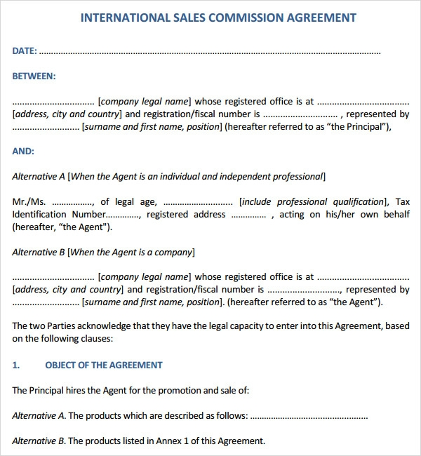 Sales contract template 7 free pdf doc download for Sales commision agreement template