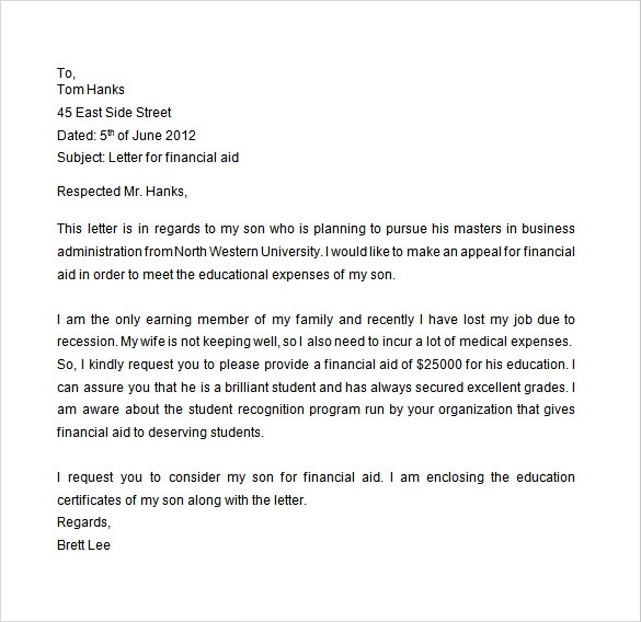 student financial aid appeal letter