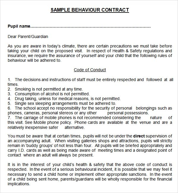 Sample Behaviour Contract   Free Documents Download In Pdf Word