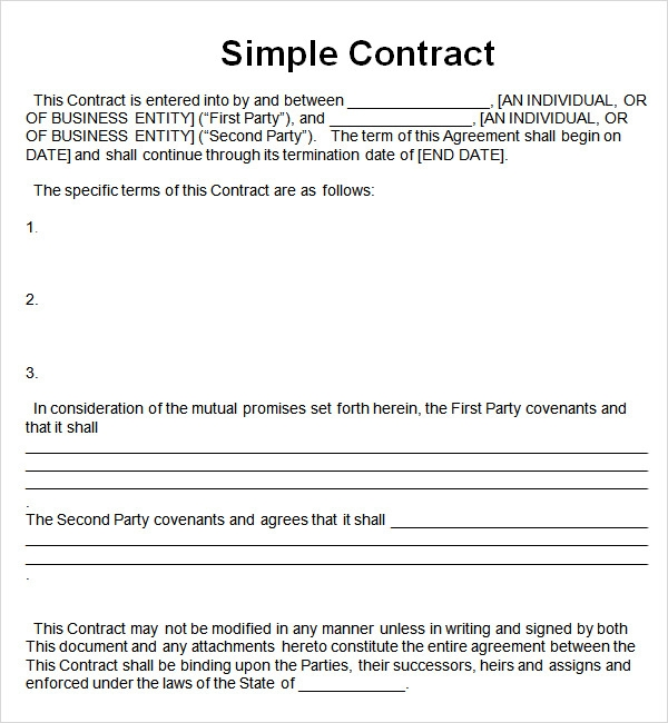 simple contract template 7 free pdf doc download sample templates. Black Bedroom Furniture Sets. Home Design Ideas
