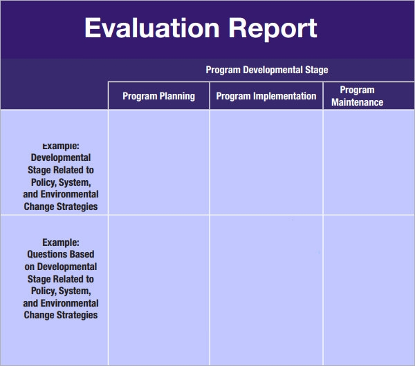 sample evaluation report