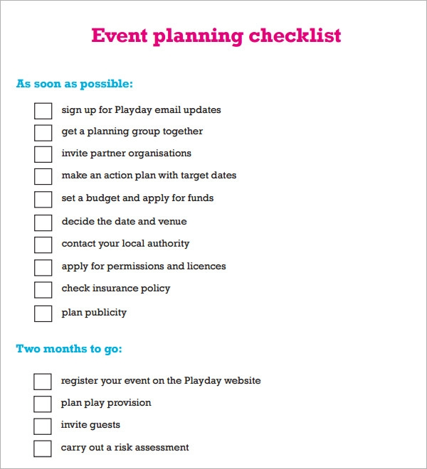 Sample Event Planning Checklist