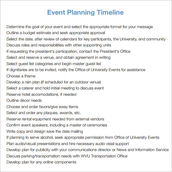 Nice Sample Event Timeline Template Nice Design