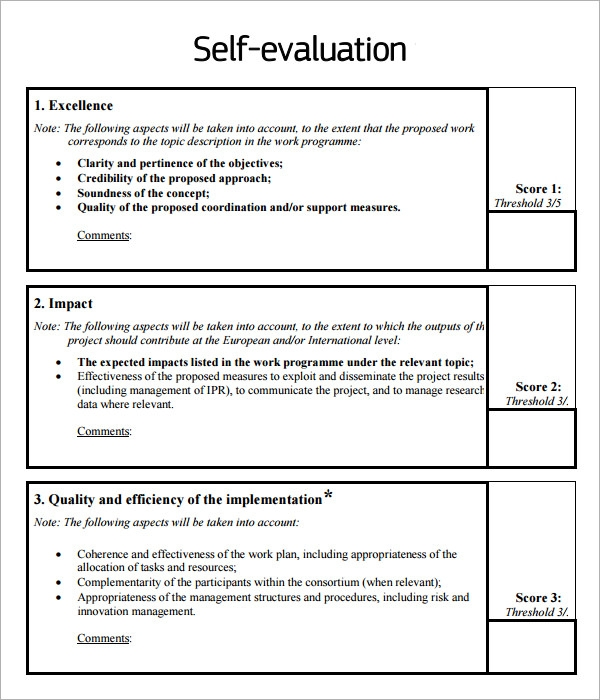 8 sample self evaluation templates to download sample for Self assessment templates employees