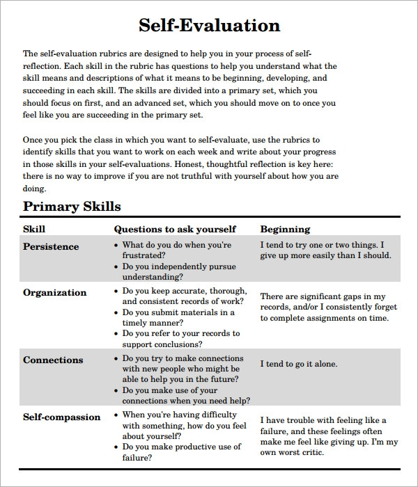 Self Evaluation   Download Free Documents In Pdf