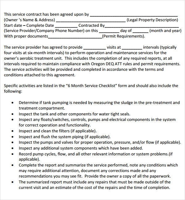 free service contract templates .