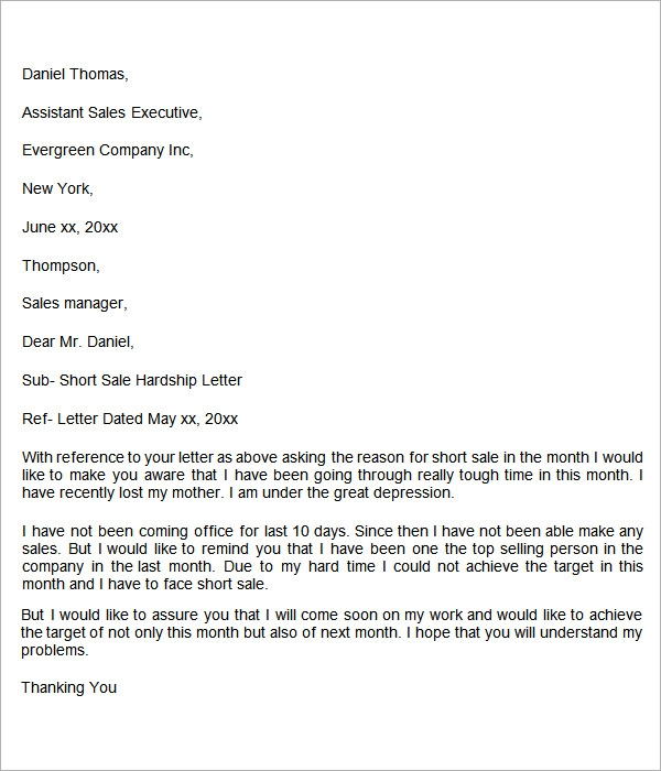 Sample Medical Hardship Letter Short Sale