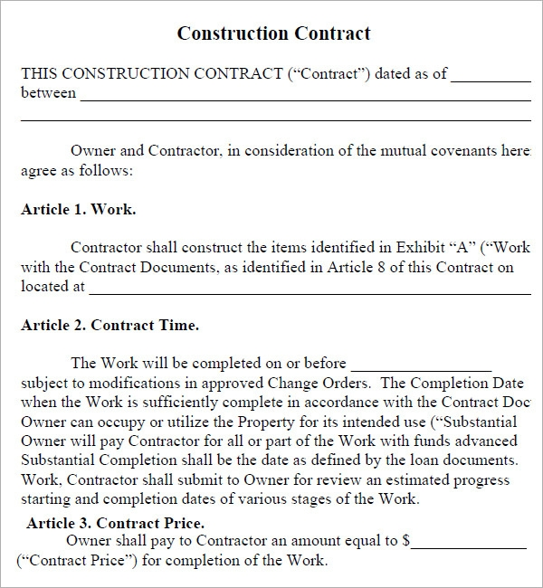 house building contract template - construction contract 7 free pdf download sample