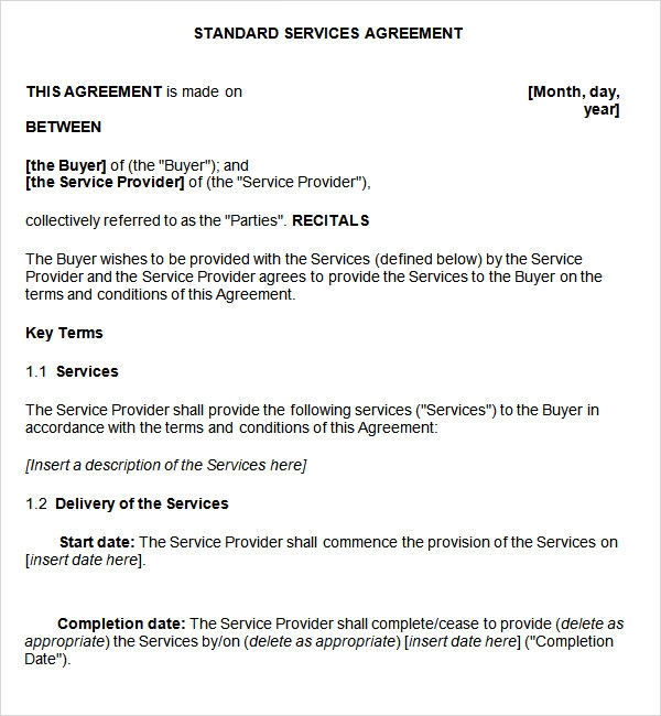Doc12751650 Simple Service Agreement simple service agreement – Service Agreement Template Word