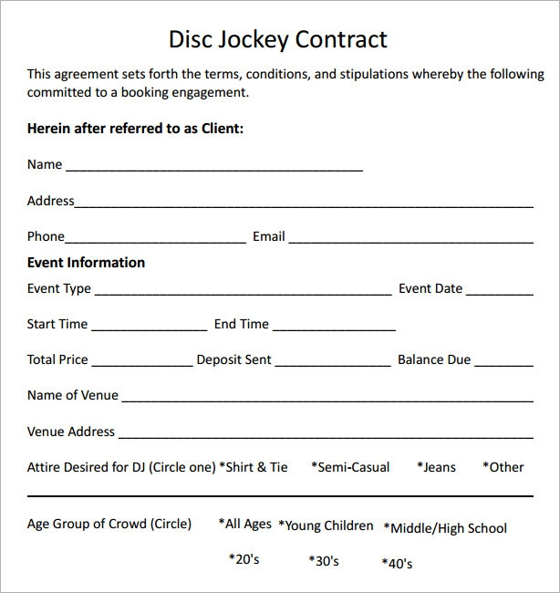 Sample dj contract template friedricerecipe Choice Image
