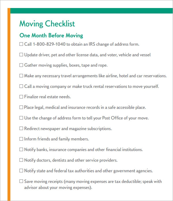 Moving Checklist   Download Free Documents In Pdf