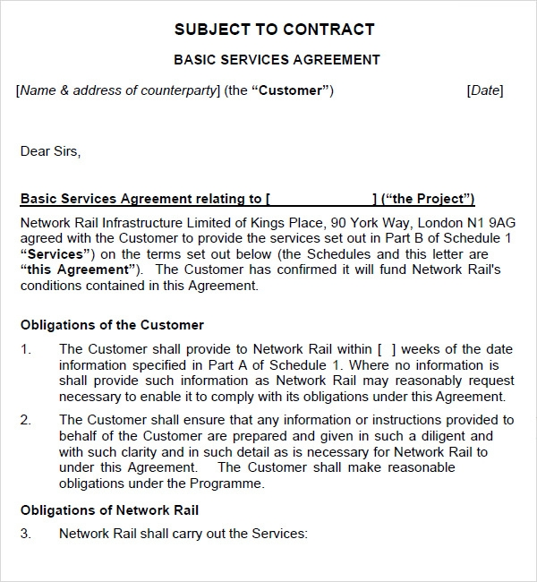 Doc728942 Basic Service Contract simple service agreement – Basic Service Contract