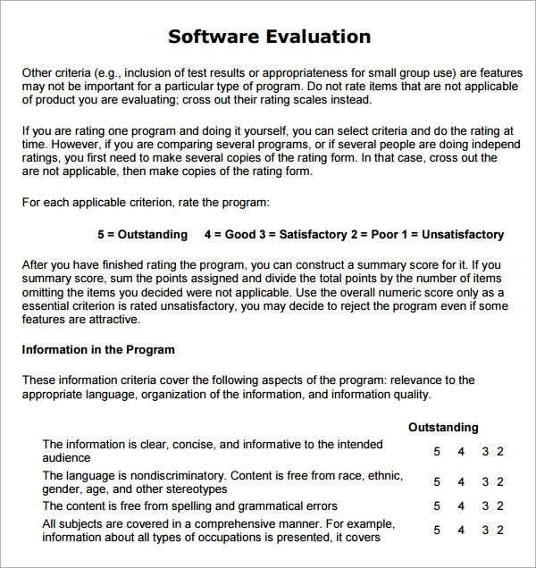 Sample Software Evaluation   Documents In Pdf Word