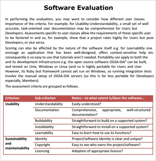 Sample Software Evaluation 8 Documents In PDF Word – Product Evaluation Template