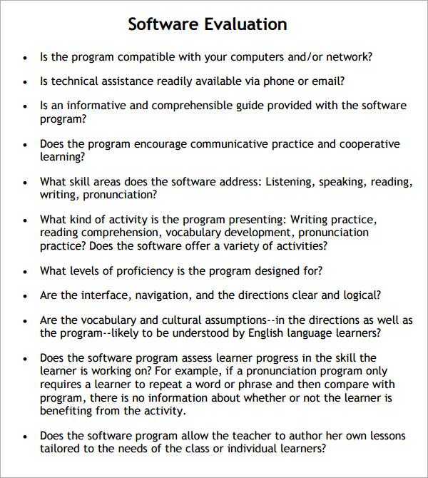 software assessment template