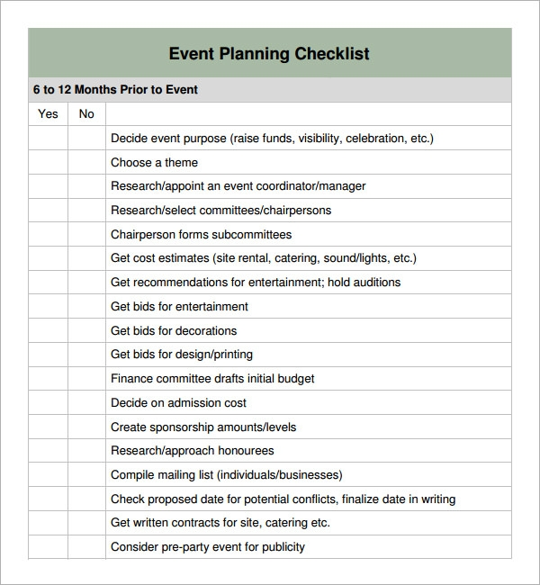 11 sample event planning checklists pdf word sample templates. Black Bedroom Furniture Sets. Home Design Ideas