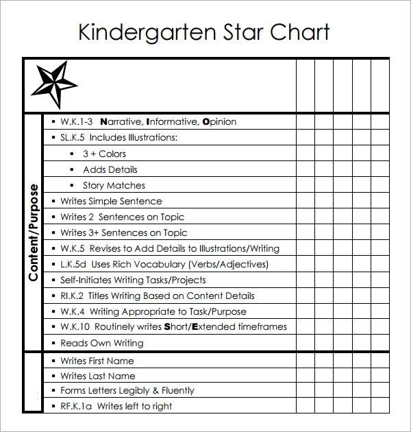 Sample Star Chart Template  KakTakTk