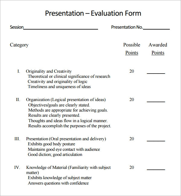 Sample Presentation Evaluation 6 Documents in PDF – Student Evaluation Forms