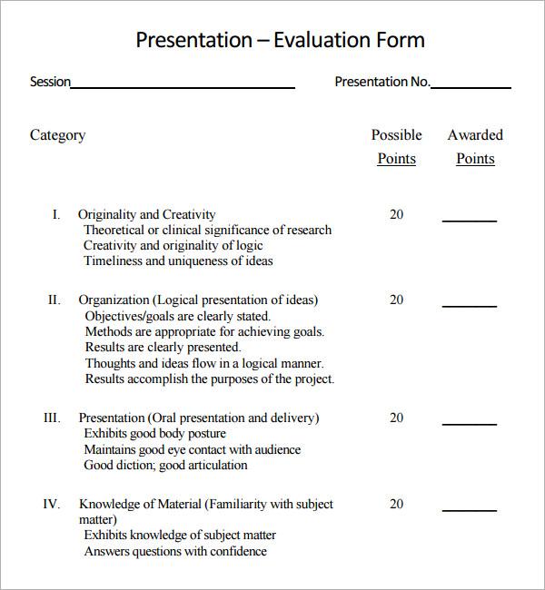 presentation evaluation form template – Speaker Evaluation Form