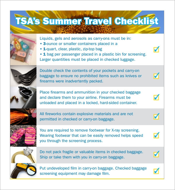 Sample Travel Checklist   Documents In Pdf