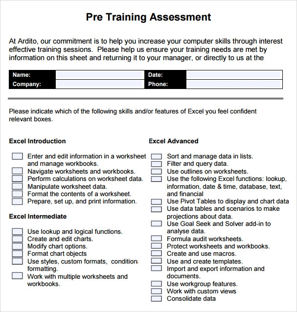 training assessment template