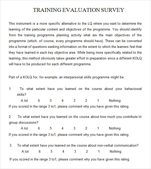 training feedback form template .