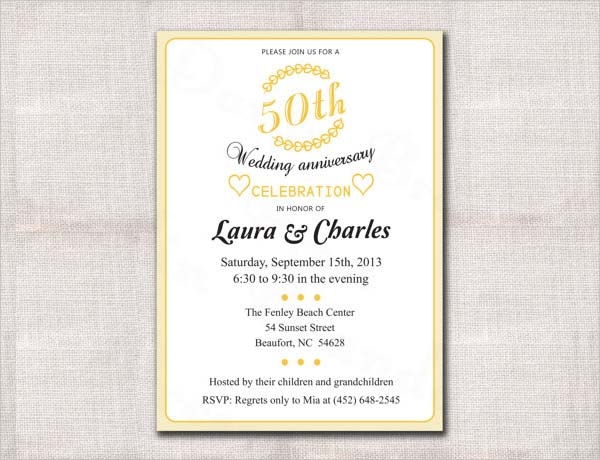 50th Wedding Invitation Templates: 10+ Anniversary Invitation Templates
