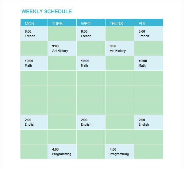 Sample Weekend Schedule   Documents In Word Pdf