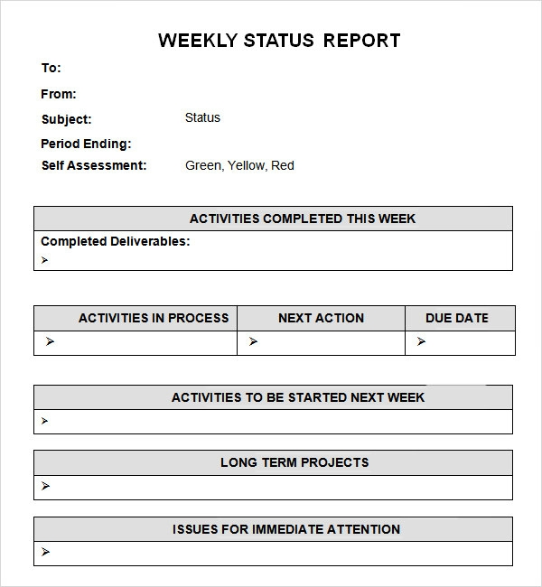 sample weekly status report