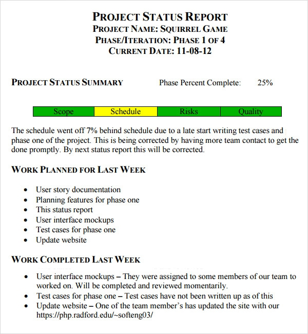 free weekly status report template