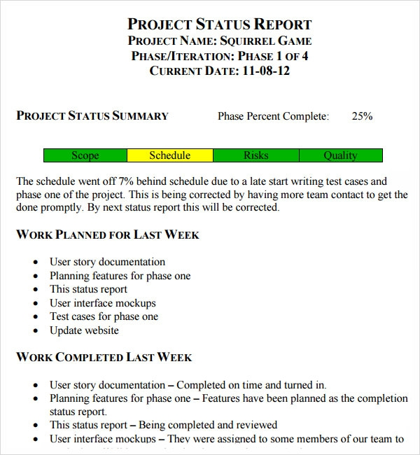 weekly project status report sample